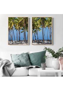Quadro 70X100Cm Praia Maragogi Alagoas Coqueiros Moldura Flutuante Natural Em Canvas