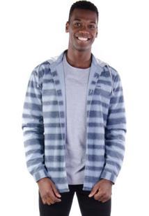 Camisa Sarja Com Capuz E Listras