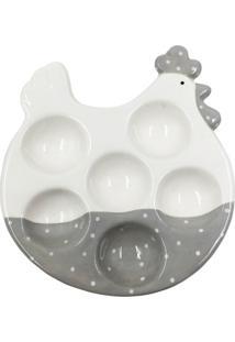 Bandeja Para Ovos Branca E Cinza Em Cerâmica 40373 Urban Home