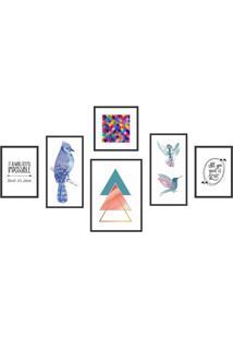 Conjunto Com 6 Quadros Decorativos Horus Colorido