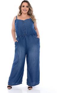 Macacão Plus Size Jeans Alcinha Azul Cambos