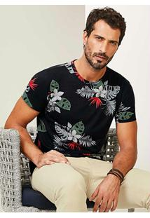 Camiseta Preta Slim Malha Floral Malwee