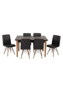 Conjunto Mesa De Jantar Luiza 135Cm Preta Com 6 Cadeiras Gomos - Preto