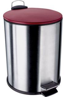 Lixeira Com Pedal E Tampa- Inox & Vermelha- 5L- Euro Homeware