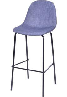 Banqueta Eames Retro Linho Azul Jeans Estrutura Preta - 46193 - Sun House