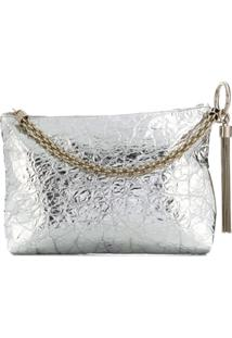 Jimmy Choo Callie Metallic Clutch - Prateado