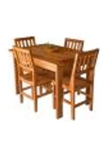 Conjunto Mesa De Jantar Ripada 1,20M Com 4 Cadeiras Confort Em Madeira De Lei Maciça Sala De Jantar Cozinha