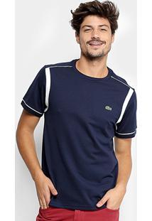 Camiseta Lacoste Manga Curta Masculina - Masculino-Marinho+Off White