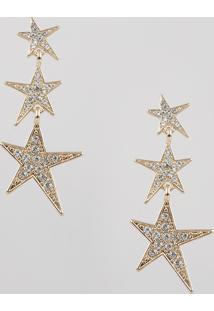 Brinco Feminino De Estrelas Com Strass Dourado