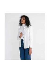 Camisa Em Veludo Com Babados Na Pala | Marfinno | Branco | Pp