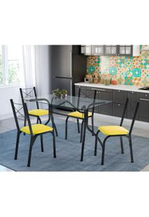 Conjunto De Mesa De Cozinha Com 4 Cadeiras Léticia Couro Sintético Amarelo