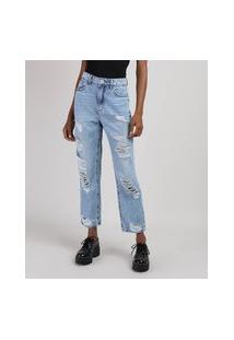 Calça Jeans Feminina Mom Cropped Cintura Super Alta Destroyed Azul Claro