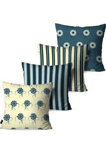 Kit Com 4 Capas Pump Up Para Almofadas Decorativas Petrã³Leo Flores Vintage 45X45Cm - Azul - Dafiti