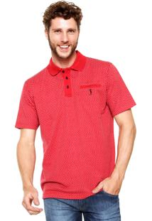 Camisa Polo Aleatory Jacquard Mini Print Vermelha