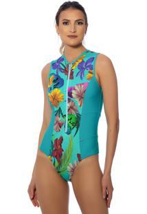 Maiô Kalini Beachwear Proteção Uv Manga Curta Lazuli
