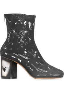 Maison Margiela Ankle Boot Com Estampa De Respingos - Preto