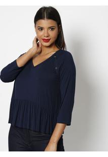 Blusa Com Botões & Franzidos - Azul Marinho- Lança Plança Perfume