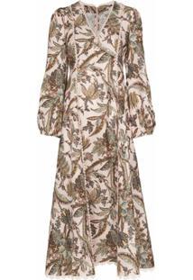 Alemais Vestido Estella Com Gola V E Estampa Paisley - Neutro