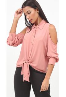 Camisa Com Recortes & Amarraã§Ã£O- Rosa- Nectarinanectarina