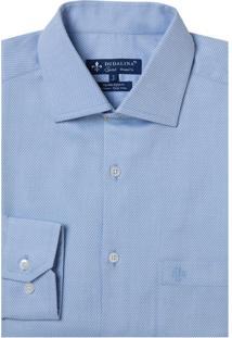 Camisa Dudalina Manga Longa Fio Tinto Maquinetado Masculina (Azul Claro, 39)