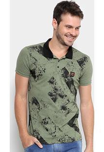 Camisa Polo Gangster Malha Jet Frontal Estampada Masculina - Masculino