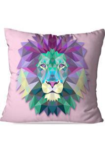 Capa De Almofada Avulsa Decorativa Leão Geométrico
