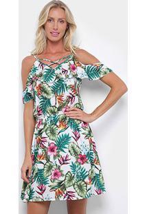 Vestido Curto Pérola Evasê Open Shoulder Tropical - Feminino-Branco+Rosa