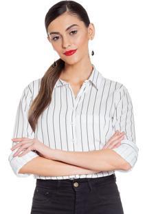 Camisa Social Principessa Nazare Listrada Off White