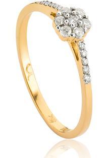 Anel De Ouro 18K Flor E Aro Com Diamantes Rodinados-Diamond Flowers