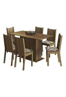Conjunto Sala De Jantar Madesa Celeny Mesa Tampo De Madeira Com 6 Cadeiras Rustic/Floral Hibiscos Rustic