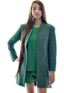 Blazer Mukã¡ Alongado Verde - Verde - Feminino - Poliã©Ster - Dafiti