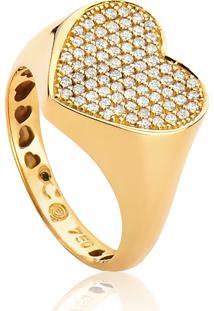 Anel De Ouro 18K Para Falange Coração Grande 78 Diamantes 31 Pontos
