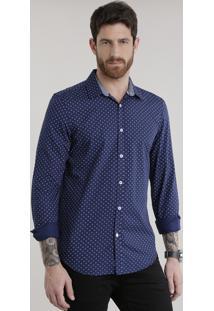 Camisa Slim Estampada Em Algodão + Sustentável Azul Marinho