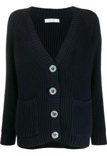 Chinti & Parker Cardigan Canelado Com Botões - Azul