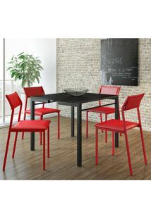 Mesa 1525 Preta Com 4 Cadeiras 1709 Color Uv Vermelha Carraro