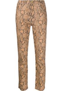 Frame Calça Jeans Com Efeito Pele De Cobra - Marrom