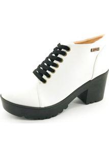 Bota Coturno Quality Shoes Feminina Branca 36