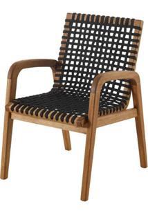 Cadeira Trama Com Braco Preta Estrutura Madeira Stain Jatoba - 56633 - Sun House