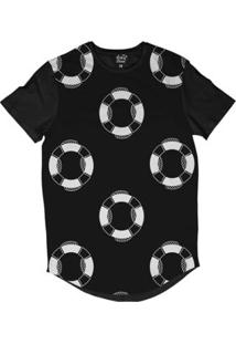 Camiseta Longline Long Beach Náutica Bóias Sublimada Masculina - Masculino-Preto