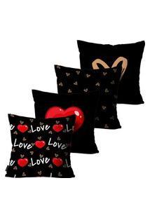Kit Com 4 Capas Para Almofadas Presente Love Preto