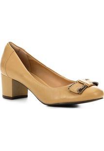 1f6eb2de5e ... Scarpin Couro Shoestock Salto Bloco Laço - Feminino-Bege