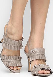 Sandália Couro Shoestock Salto Fino Babado Feminina - Feminino-Bege