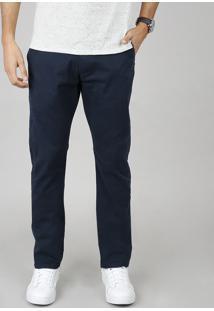 Calça De Sarja Masculina Chino Reta Com Bolsos Azul Marinho