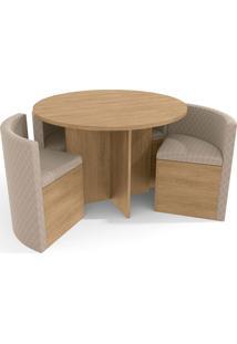 Conjunto Mesa Nirá C/ 4 Cadeiras Freijó/Geométrico Bege Kappesberg - Tricae