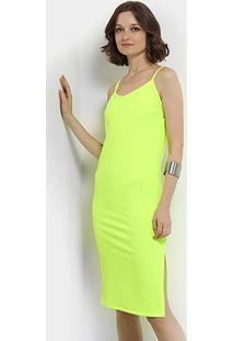 Vestido Aura Midi Tubinho Canelado Neon - Feminino-Amarelo