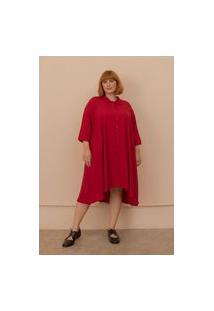 Vestido Chemise Gisela Plus Size Vermelho-Exg