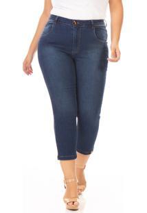 Calça Capri Jeans Skinny Com Lycra Feminina Plus Size Confidencial Extra Azul Marinho