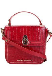 59179502f ... Bolsa Couro Jorge Bischoff Handbag Estruturada Croco Verniz Feminina -  Feminino-Vermelho