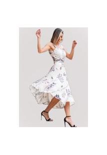 Vestido Godê Eternize Atelier Lily Daisy Ld144 Creme Floral