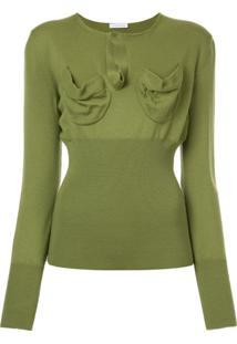 Jw Anderson Suéter Com Bolso No Busto - Verde